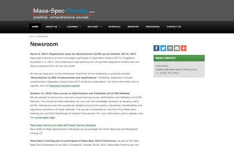 Screenshot of Press Page mass-spec-training.com - Mass-Spec-Training.com Newsroom - captured Oct. 17, 2017
