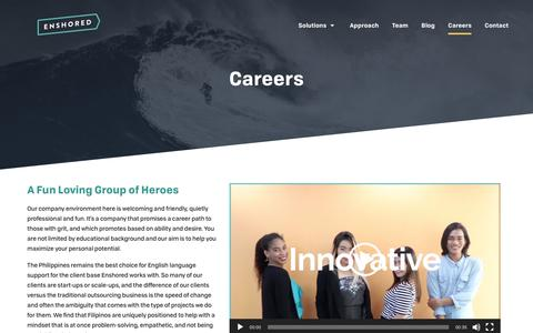 Screenshot of Jobs Page enshored.com - Career Opportunities With Fun Loving Heroes - Enshored - captured Nov. 5, 2018