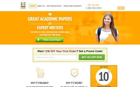 Screenshot of Home Page grademiners.com - I Want an Expert Essay Writer to Write My Essay! - captured Oct. 23, 2015