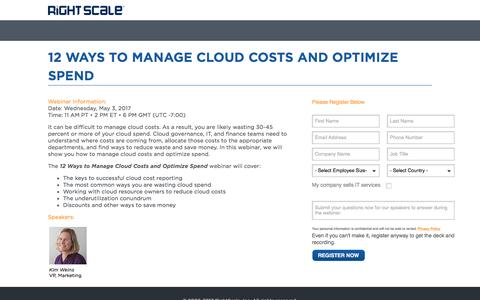 Screenshot of Landing Page rightscale.com - 12 Ways to Manage Cloud Costs and Optimize Spend - captured May 11, 2017