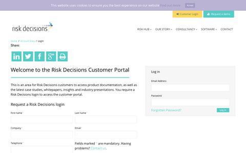 Screenshot of Login Page riskdecisions.com - Login - Risk Decisions - captured Oct. 20, 2018