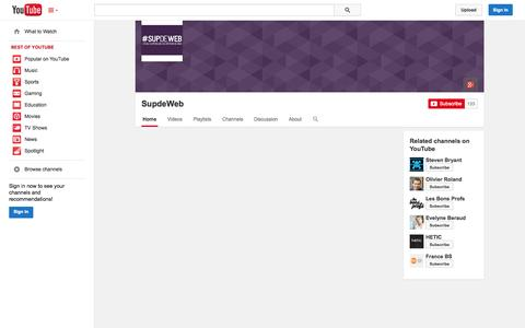 Screenshot of YouTube Page youtube.com - SupdeWeb  - YouTube - captured Oct. 29, 2014
