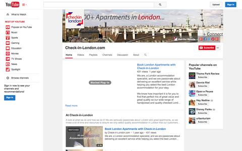 Screenshot of YouTube Page youtube.com - Check-in-London.com  - YouTube - captured Nov. 1, 2014