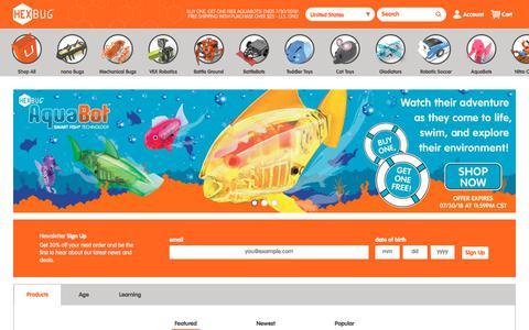 Screenshot of Home Page hexbug.com - HEXBUG Micro Robotic Creatures    HEXBUG - captured July 14, 2018