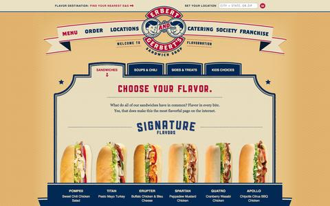 Screenshot of Menu Page erbertandgerberts.com - Sandwiches | Erbert & Gerbert's Sandwich Shop - captured Sept. 22, 2014