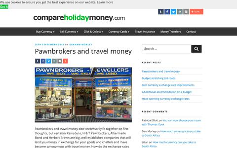 Screenshot of Blog compareholidaymoney.com - Compare Foreign Currency Exchange Rates and Travel Money Suppliers - Compare Holiday Money - captured Sept. 29, 2018