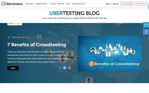Screenshot of Blog ubertesters.com - Mobile app testing blog - captured May 9, 2017