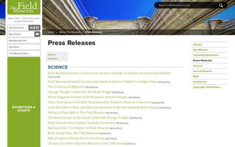 Screenshot of Press Page fieldmuseum.org - Press Releases | The Field Museum - captured Sept. 19, 2014