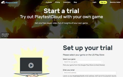 Screenshot of Trial Page playtestcloud.com - Start a trial - PlaytestCloud - captured July 3, 2016