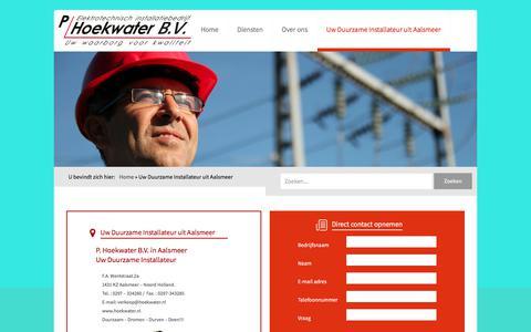 Screenshot of Contact Page installateur-aalsmeer.nl - P. Hoekwater B.V. Uw Duurzame Installateur in Aalsmeer en regio. - captured Jan. 25, 2018