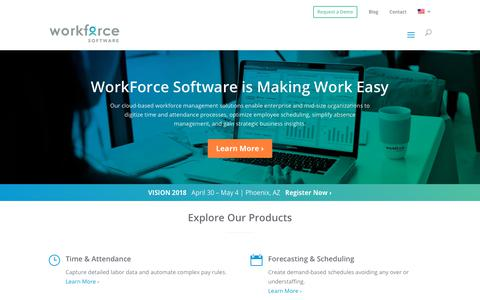 Screenshot of Home Page workforcesoftware.com - WorkForce Software: Making Work Easy - captured Feb. 13, 2018