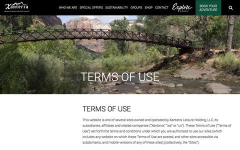 Screenshot of Terms Page xanterra.com - Terms of Use | Xanterra Parks & Resorts, Inc. | Xanterra - captured June 23, 2017