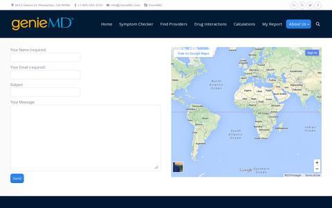 Screenshot of Contact Page geniemd.com - GenieMD |   Contact Us - captured July 19, 2014