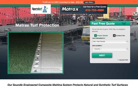 Screenshot of Landing Page matraxinc.com - Turf Protection LP3 | Matrax - captured Oct. 27, 2014