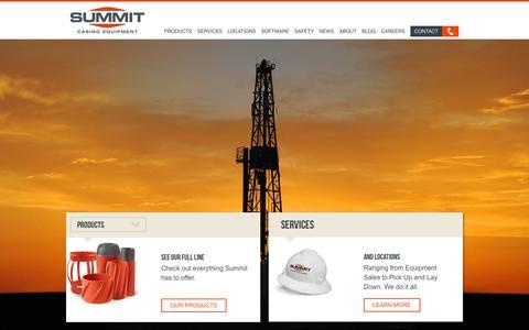 Screenshot of Home Page summitcasing.com - Summit Casing Equipment - captured Sept. 2, 2015