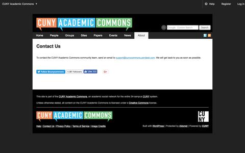 Screenshot of Contact Page cuny.edu - Contact Us | CUNY Academic Commons - captured Feb. 25, 2018