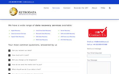 Screenshot of Services Page retrodata.co.uk - Data Recovery Services - Established RAID Recovery Professionals. Retrodata - captured Feb. 15, 2016