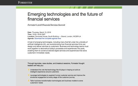 Screenshot of Landing Page forrester.com - Emerging Technologies And The Future Of Financial Services - captured March 31, 2018