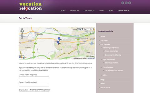 Screenshot of Contact Page vocationrelocation.ie - Get in Touch | Vocation Relocation - captured Oct. 1, 2014