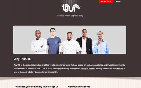 Screenshot of About Page tour2-0.com - Community tours in South Africa | Why us | Tour 2.0 - captured Oct. 7, 2014