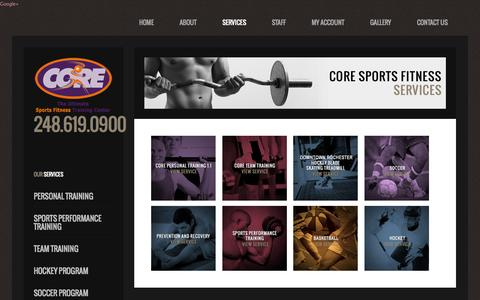 Screenshot of Services Page coresportsfitness.com - Services - captured Sept. 26, 2014