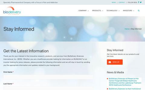 Screenshot of Signup Page bdsi.com - Stay Informed   BioDelivery Sciences International, Inc. - captured Oct. 19, 2018