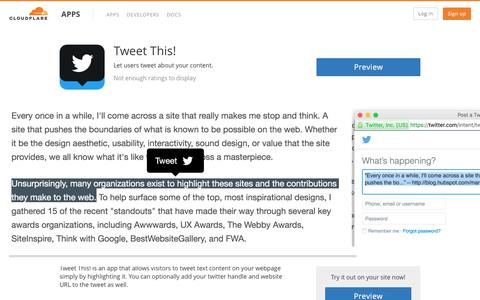Tweet This! - Cloudflare Apps