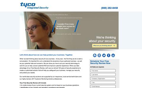 Screenshot of Landing Page tycois.com - Free Security Review | Tyco Integrated Security - captured Dec. 13, 2016