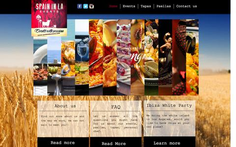Screenshot of Home Page spaininlaevents.com - Spain in LA events - captured Sept. 30, 2014