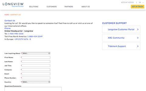 Screenshot of Contact Page longview.com - Contact | Performance Management Software Toronto | Longview Solutions - captured Jan. 7, 2018