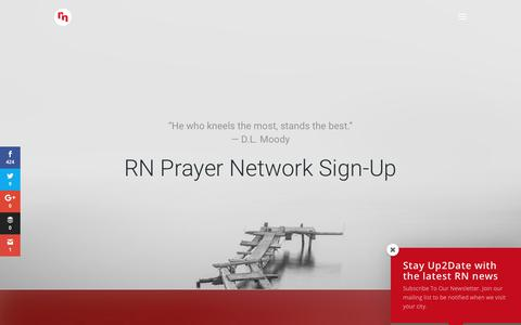Screenshot of Signup Page revivenations.org - RN Prayer Network - captured June 27, 2017