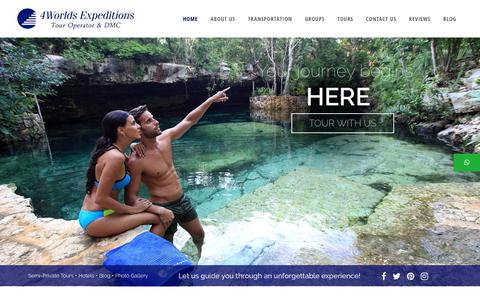 Screenshot of Home Page 4worldsexpeditions.com - 4Worlds Expeditions | Tour Operator and DMC in Cancun and - captured Nov. 19, 2018