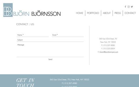 Screenshot of Contact Page bjornbjornsson.com - Bjorn Bjornsson Interior Design   Contact Us - captured Oct. 6, 2018