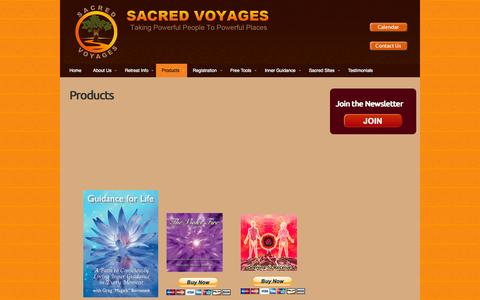 Screenshot of Products Page sacredvoyages.com - Products | Sacred Voyages - captured Sept. 30, 2014