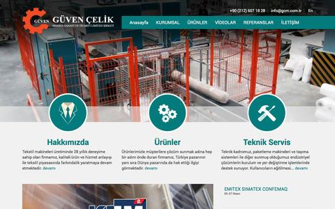 Screenshot of Home Page gcm.com.tr - Güven Çelik Makina - - captured Nov. 15, 2016