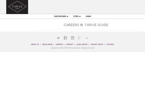 Screenshot of Jobs Page thriveguide.com - Careers | Thrive Guide - captured Oct. 9, 2014