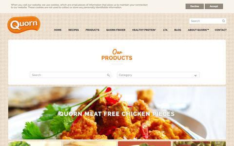 Screenshot of Products Page quorn.co.uk - Quorn Food - Browse the Product Range and Make One Change - captured Oct. 2, 2015
