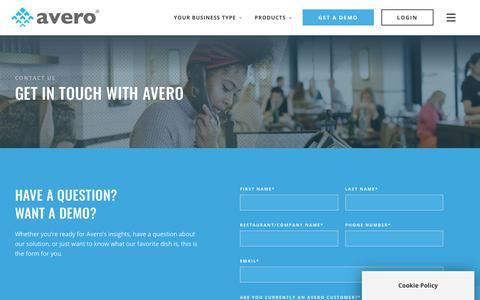 Screenshot of Contact Page averoinc.com - Get in Touch – Contact Us | Avero - captured Nov. 29, 2019