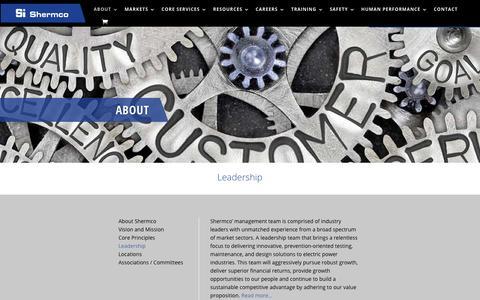 Screenshot of Team Page shermco.com - Leadership - Shermco industries - captured Nov. 9, 2019