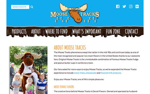 Screenshot of About Page moosetracks.com - About Moose Tracks Ice Cream   Moose Tracks Denali Flavors - captured Oct. 12, 2017