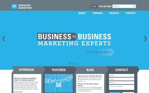 Screenshot of Home Page emergingmarketing.com - B2B Agency, Digital Marketing Agency - captured July 21, 2015