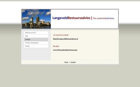Screenshot of Contact Page langeveldbestuursadvies.nl - LangeveldBestuursadvies - Contact - captured Oct. 28, 2014