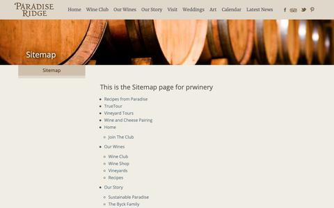 Screenshot of Site Map Page prwinery.com - Sitemap - Paradise Ridge Winery - captured Sept. 26, 2018