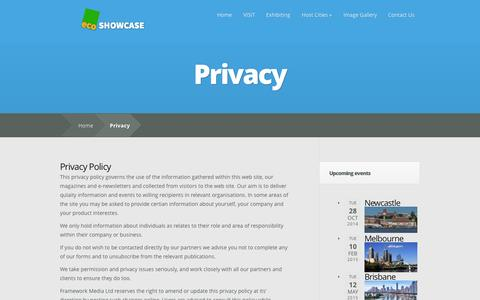 Screenshot of Privacy Page ecoshowcase.com.au - Privacy | ecoSHOWCASE Australia - captured Sept. 30, 2014