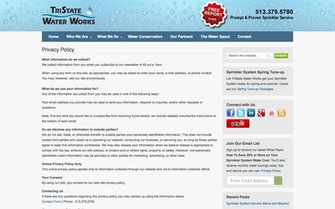 Screenshot of Privacy Page tristatewaterworks.com - Privacy Policy | TriState Water Works - captured Oct. 8, 2014