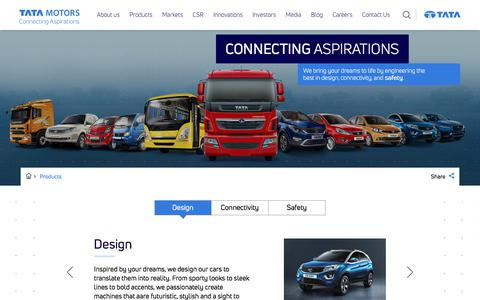 Screenshot of Products Page tatamotors.com - Products - captured Feb. 18, 2018