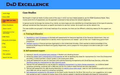 Screenshot of Case Studies Page ddexcellence.com - D&D Excellence services - case study examples - captured Jan. 31, 2016