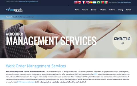 Screenshot of Services Page maxpanda.net - Work Order Management Services | Facilities Maintenance Software | Facility Asset Management Software - captured Oct. 4, 2014