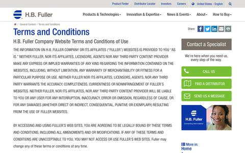 Screenshot of Terms Page hbfuller.com - Terms and Conditions - captured Nov. 4, 2018