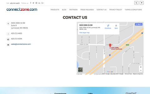 Screenshot of Contact Page connectzone.com - Contact Us - captured Sept. 19, 2017